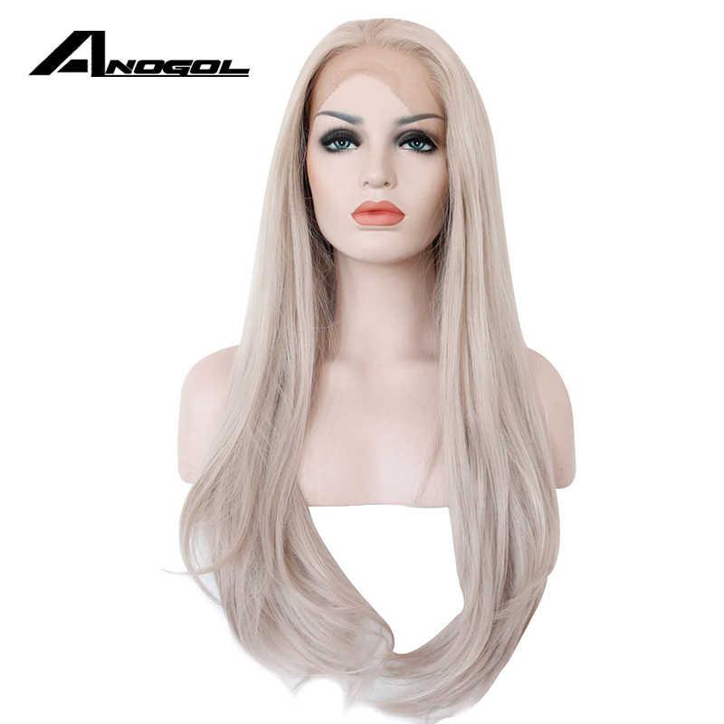 Аногол высокотемпературное волокно 360 фронтальный U часть парики пепельно-серый длинный натуральный волнистый синтетический парик для женщин Бразильский