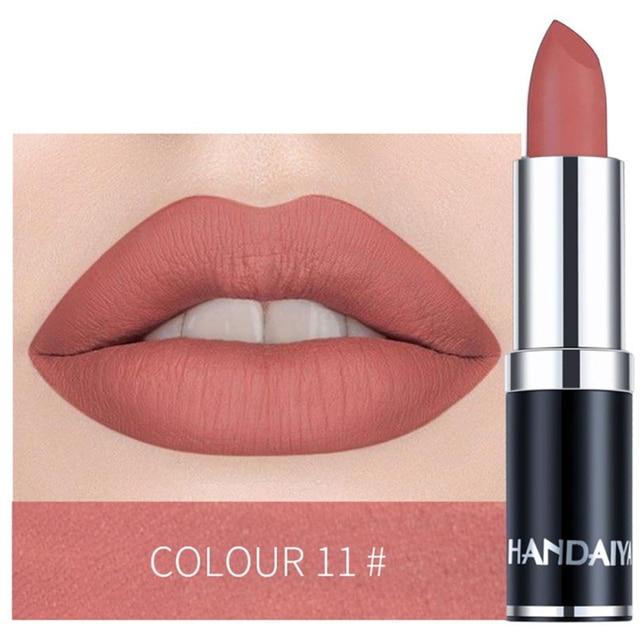 1 lápiz labial desnudo impermeable mate Color calabaza lápiz labial vitamina E hidratante resistente al agua lápiz labial profesional