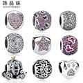 Fit Original Pandora Charms Bracelets 925 Sterling Silver Paw Print,Mickey&Minnie Heart Beads DIY Jewelry,Necklaces&Pendants