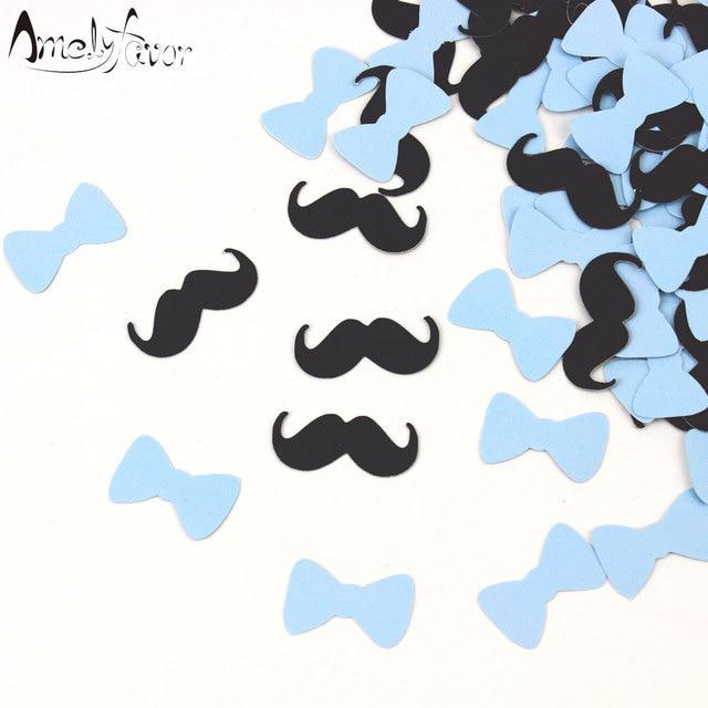 Mustache Bow Tie Confetti Little Man Baby Blue Party Cutouts Boy