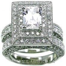 Choucong Старинные 2-в-1 Обручальное кольцо 139 шт. Камень 5А Циркон камень 14KT БЕЛОЕ Золото Заполненные Обручальное Кольцо Sz 5-11