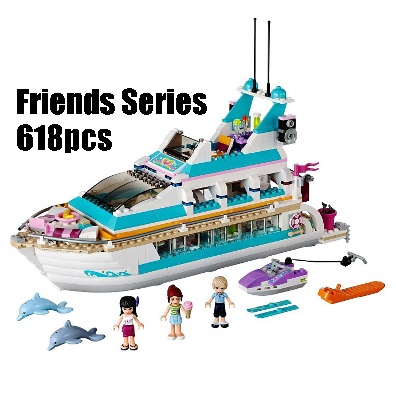 WAZ Compatible Legoe Friends 41015 Lepin 01044 618pcs building blocks Dolphin Cruiser Vessel Ship Brick figure toys for children 8 in 1 military ship building blocks toys for boys