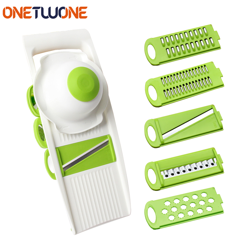 5-in-1 Mandoline Slicer Grater Tools, Vegetable & Fruit Peeler with 5 Stainless Steel Blade, Carrot Peeler Kitchen Gadget adjustable mandoline slicer professional grater