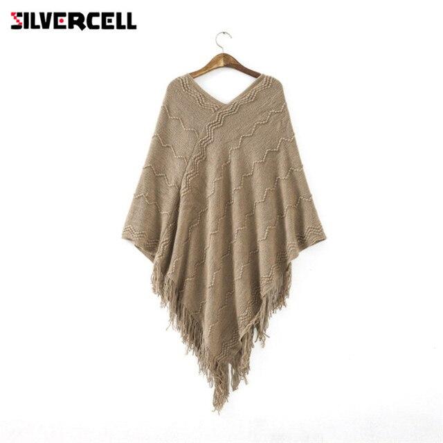 Silvercell Для женщин Batwing накидка V Средства ухода за кожей шеи пуловер кисточкой Пончо трикотажный топ Высококачественный свитер пальто куртка осень-зима 4 цвета