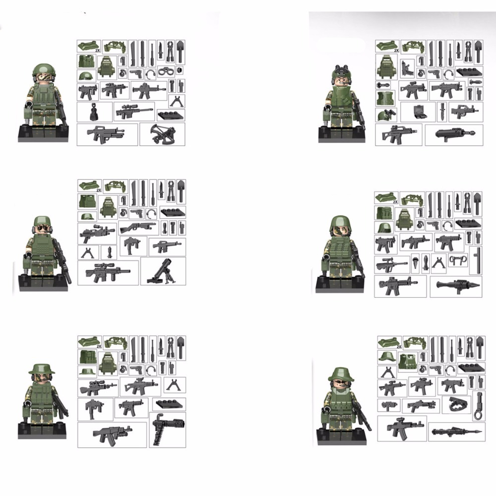 6pcs Armed forces Army MILITARY SWAT Seals Camouflage Soldiers Marine Corps Building Blocks Brick Figures Toys Gift Boy Children oenux newest swat city policeman mini dolls building block set modern military armed forces soldiers brick toy for kids gift