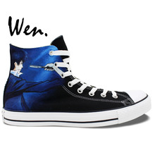 Wen Black Anime Hand Painted Shoes Design Custom Psycho-Pass Man Woman's High Top Canvas Sneakers for Christmas Gifts