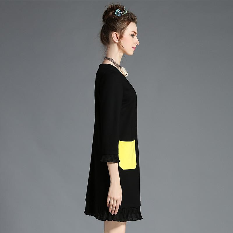 Plus Taille Des Robes La Dame Haute Robe 2017 Broderie Automne Mini Qualité 5xl Poche Nouveau Noire xxxl Ouyalin Femmes L Colorée 4xl De BYnSz8xqw