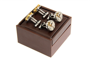 Free Shipping Fashion Cufflinks Gift Box 12pcs/lot PU Leather Coated Display Package 2 Pairs Cuff Links Box