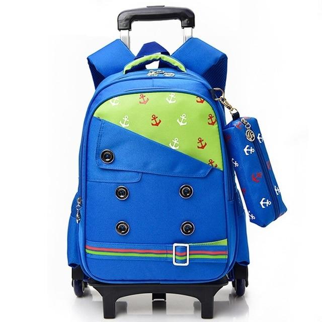Boys Trolley Backpack Girls Wheeled School Bag Children Travel Luggage Suitcase On Wheels Kids Rolling Book