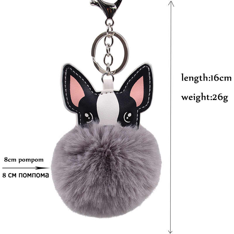 2019 bonito do cão chaveiro macio coelho pele francês bulldog chaveiros pompon chaveiro couro animal titular bolsa feminina carro chaveiro