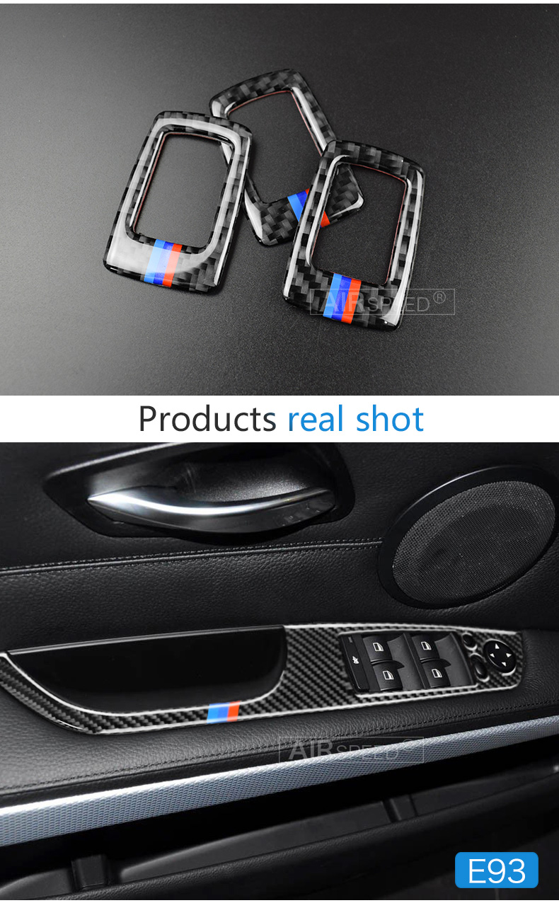 BMW 3 Series E90 E93 Accessories LHD Car Interior Carbon Fiber Door Window Switch Panel Cover Trim Car Styling (6)