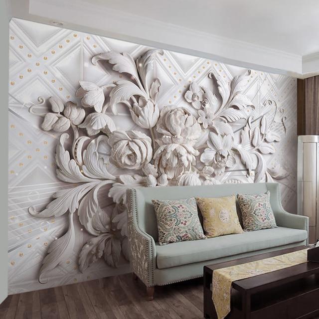 Ordinaire Peinture Murale Personnalisée Style Européen Stéréo En Relief Fleur Papier  Peint Revêtement Mural Salon TV Papier