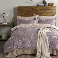 4 pcs gêmeo rainha dupla 100% Algodão Capa de Edredão Conjunto de cama roupa de cama Flor cinza Impressão da Folha de cama Define Conjuntos de cama de ar expressar
