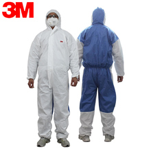 3M 4535 Chemical Coveralls Hooded Protective Elastic Waist Clothing Against Dry Particles/Chemical Splash H020109
