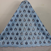 free shipping!High Quality African blue Organza Lace fabric with full sequins For nigerian Wedding Dress(China)