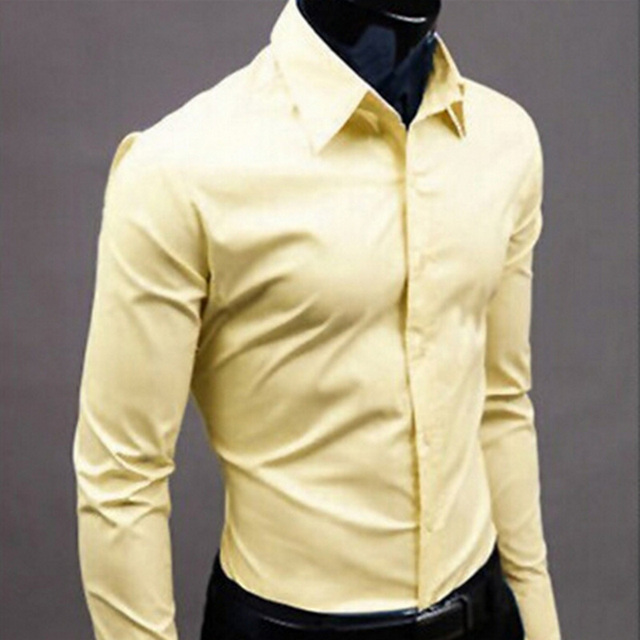 2018Men Shirt Long Sleeve Fashion Mens Casual Shirts Cotton Solid Color Business Slim Fit Social Camisas Masculina RD464 2