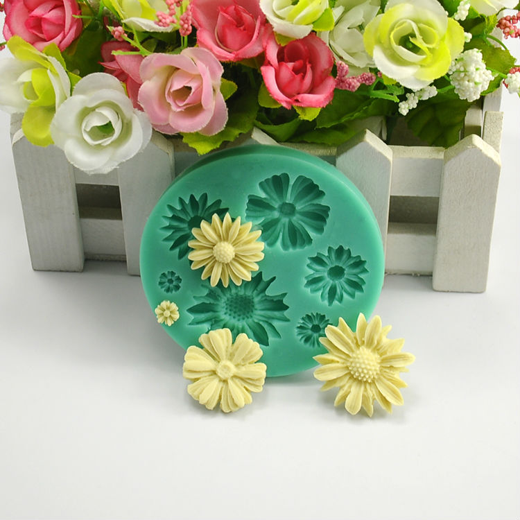 Flower Daisy Shape Fondant Molds Silicone Mould Kitchen Accessories Biscuit Sweets And Candy Food Cake Decorating