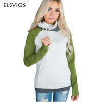 ELSVIOS High Quality Sweatshirt 2017 Winter Autumn Women Stitching Double Hoodies Casual Elegant Hooded Pullover 6