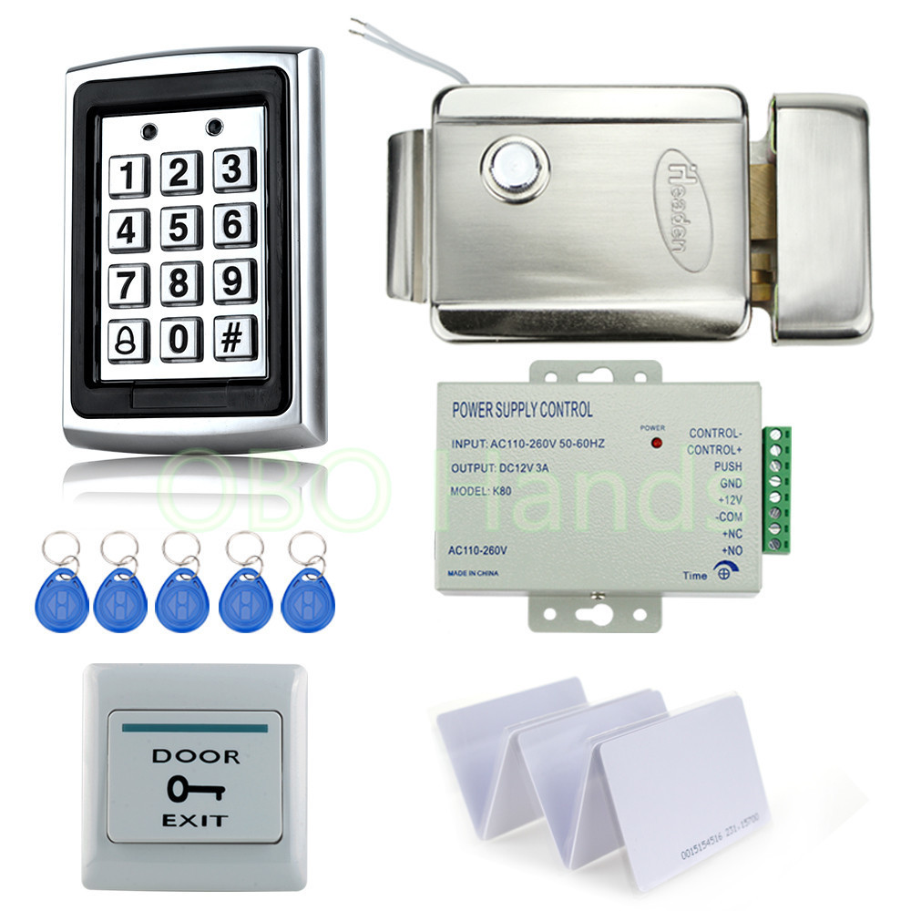 ФОТО Full RFID waterproof access control system kit set with metal keypad+Electric control Lock+power+exit switch+10 key cards-7612