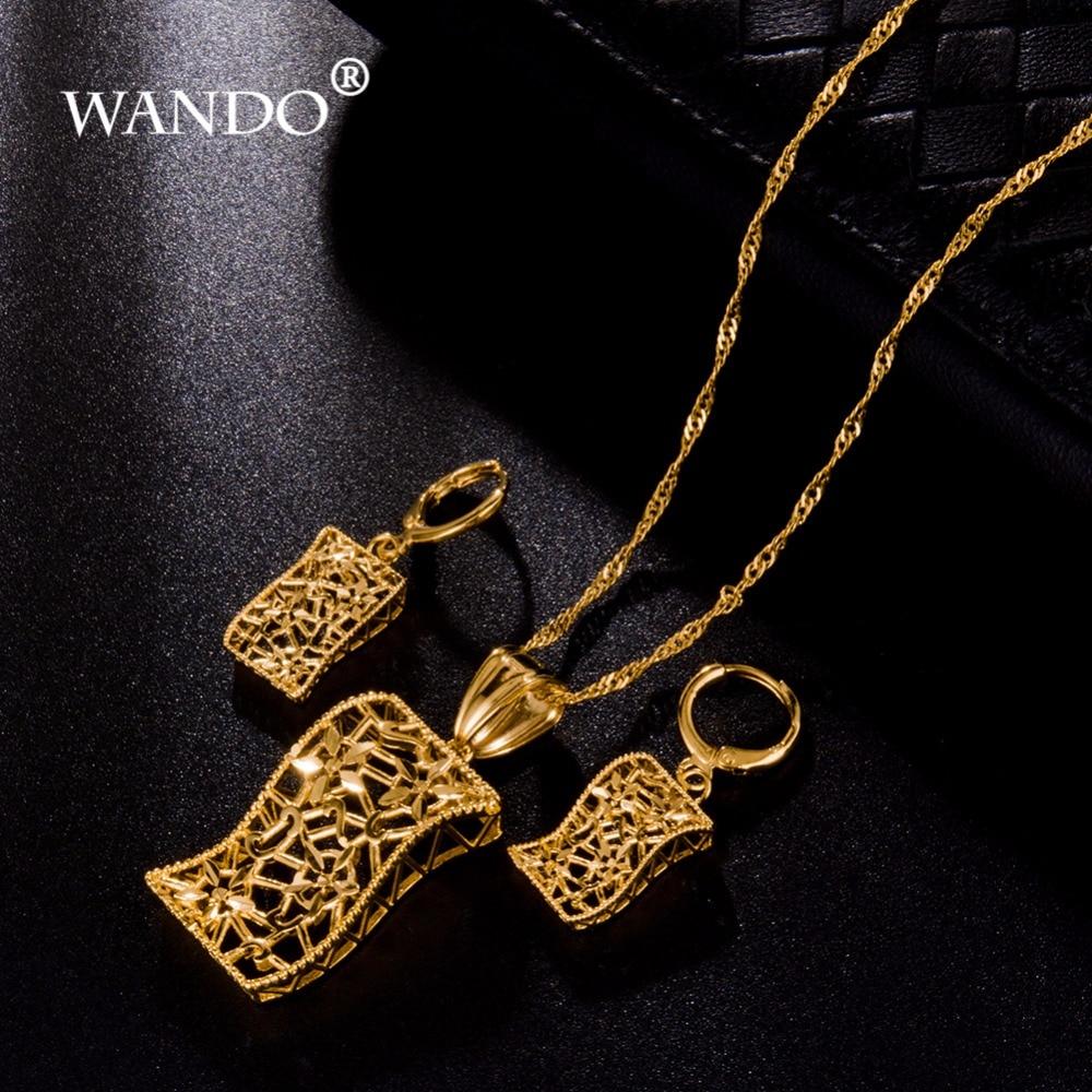WANDO 18 or couleur bijoux érythrée soudan ensemble africain Nigeria mariée bijoux de mariage pendentif collier boucle doreille arabe ws3