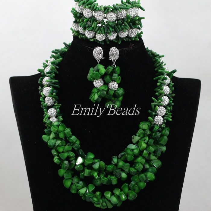 2016 New Nigerian African Wedding Beads Necklace Jewelry Set Green Coral Beads Set Silver Plated Women Gift Free Shipping CJ6692016 New Nigerian African Wedding Beads Necklace Jewelry Set Green Coral Beads Set Silver Plated Women Gift Free Shipping CJ669