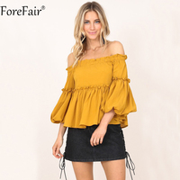 ForeFair Women Flare Sleeve Ruffles Blouse Yellow Plus Size Sexy Slash Neck RuchedTops