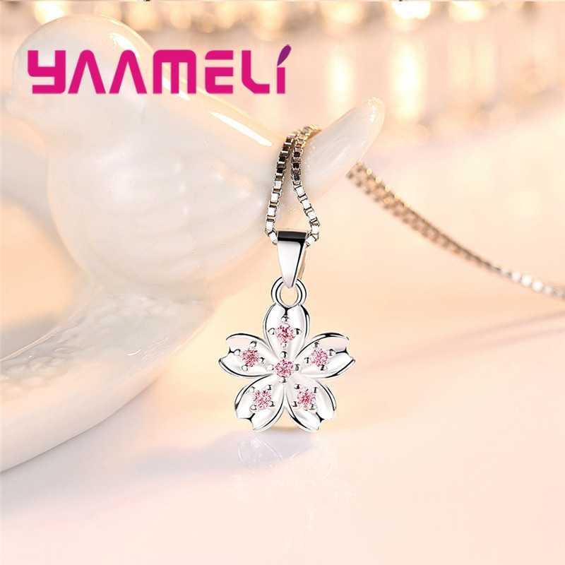 Specjalny urok projektowania mody Temperament koreański naszyjnik kwiatowy ze srebra próby 925 z pudełkiem łańcucha dla kobiet najlepszy prezent