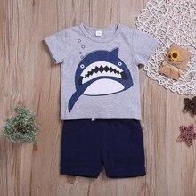 Kids Clothes Summer Kids Boys Short Sleeve Cartoon Shark Print Tops Blouse T-shirt+Shorts Children Casual Outfits Sets