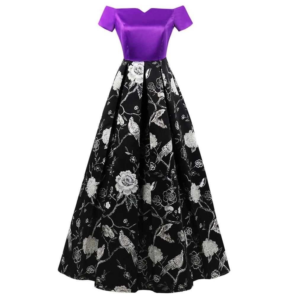Woman Plus Size Evening Vestido Large Big Size Floral Printed Maxi Party Dress Elegant Hostess Clothing Slash Neck Retro Clothes
