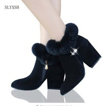 SLYXSH 2018 Winter Women Shoes Woman Boots Square High Heels Ankle Pointed Toe Faux Fur Fashion Warm Luxury Ladies Boot Black(China)