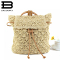 BAGSMART Multi-Functional Straw Backpack Leisure Straw Bag Manual Made Grass Tote Beautiful Beach Bag Straws School Bag Backpack