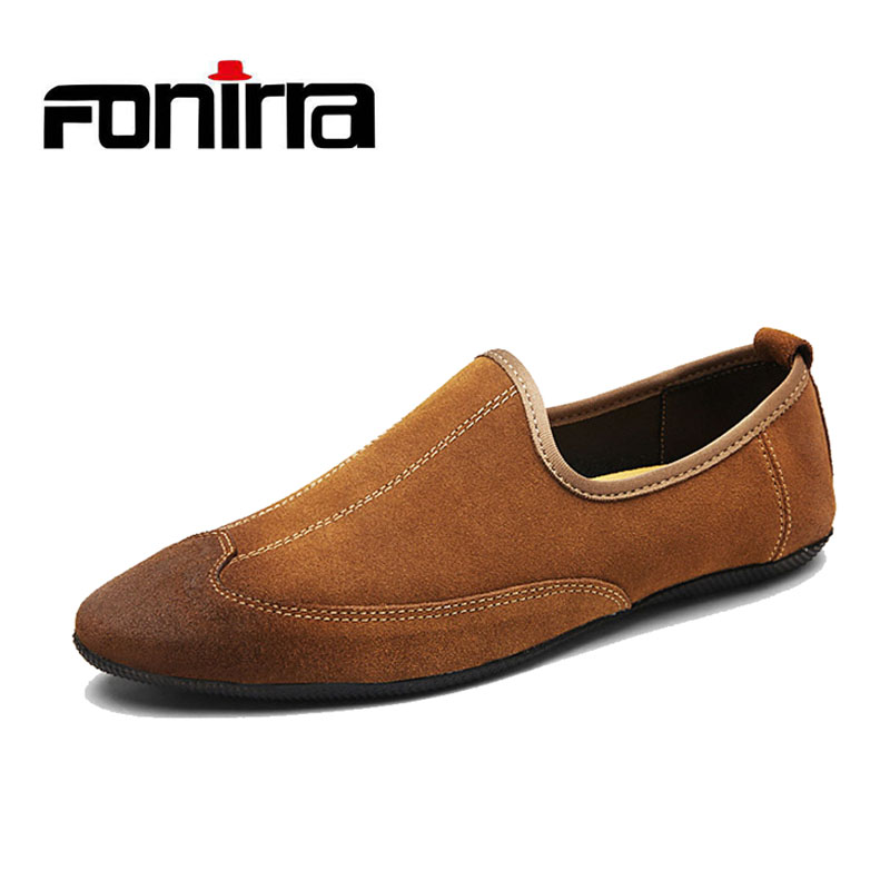New Design Men Shoes Suede Pointed Toe Men Loafers Moccasins Male Vintage Slip On Causal Shoes Men Breathable Flats FONIRRA 801
