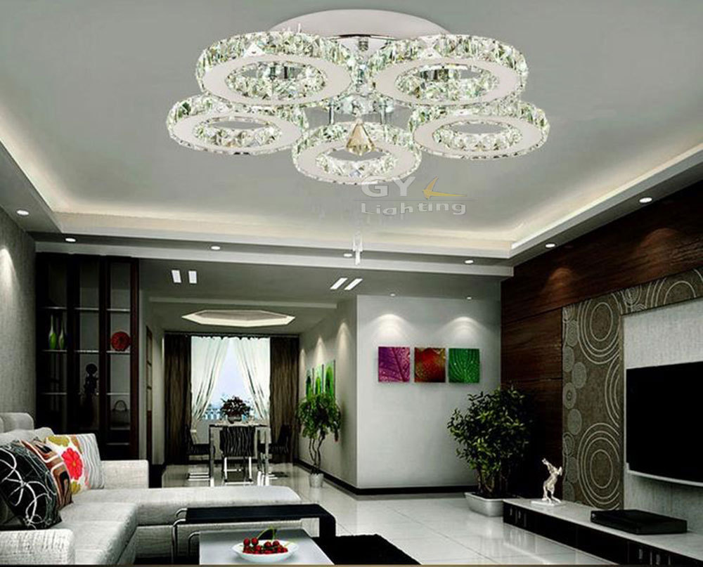 Modern Bedroom Ceiling Lights Ac100 240v D60h15cm 45w Led Ceiling Lights Crystal 5 Light Modern