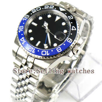 40mm Parnis Black Sterile Dial Blue Black Ceramic Bezel Jubilee Style Strap Blue GMT date window automatic mens watch - DISCOUNT ITEM  44% OFF All Category