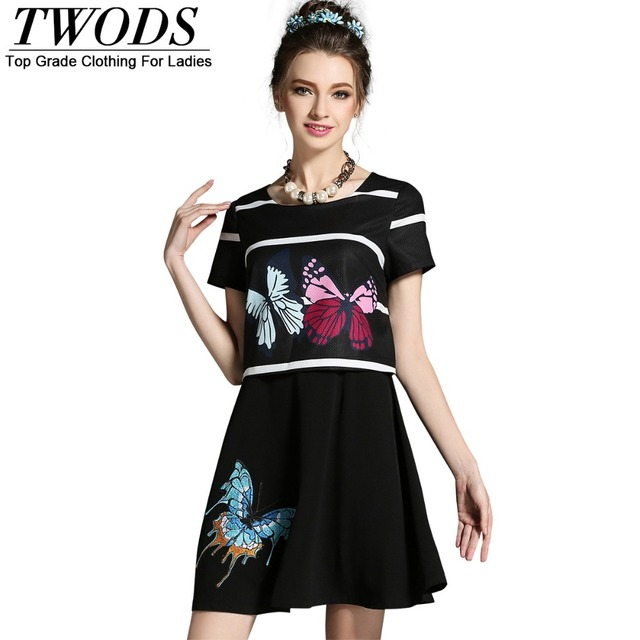1bb5c00acf Twods L- 5XL Butterfly Print Women Plus Size Summer Dress Cute Young Lady  Short Skater Dresses Short Sleeve O-neck Black Colour