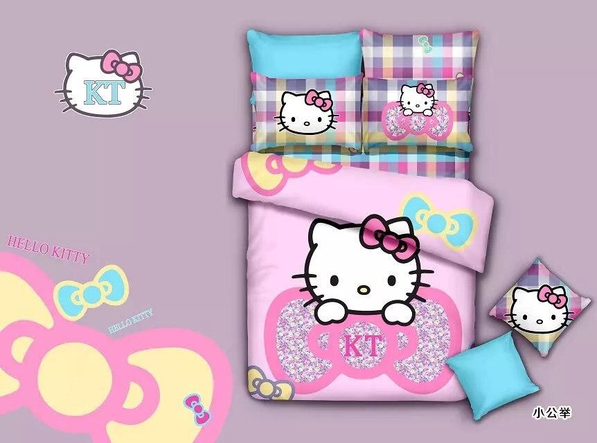 skyblue pink hello kitty juego de cama para nios de las muchachas de impresin ropa de