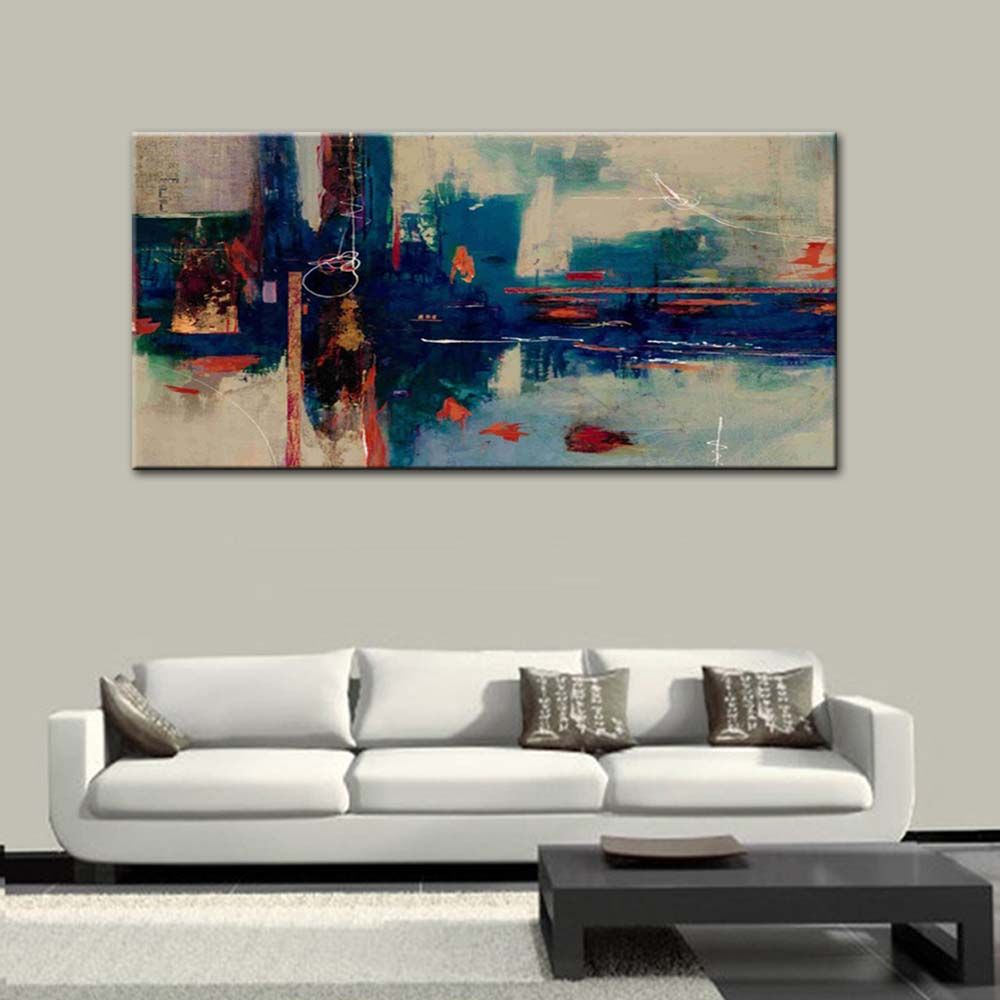 Large Size Painting Hand Painted Abstract Blue Canvas Oil Painting ...