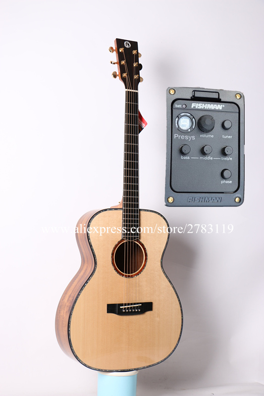 Professional Full Solid Guitar,40 Acoustic Guitar,Solid Spruce Top/Solid Acacia Body, guitars china With Hard case,OM style solid
