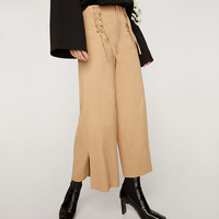 Free Lemons Sweet Solid Bow tie Woman Pants Loose Wide Leg Pants Casual Autumn Ladies New Arrival Female Trousers V5319