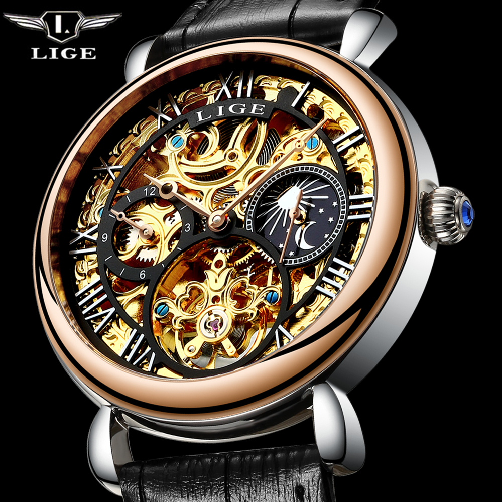 2017 Men Watches Skeleton Hollow Fashion Tourbillon Mechanical Hand Wind Mens LIGE Luxury Business leather Strap Wrist Watch цена и фото