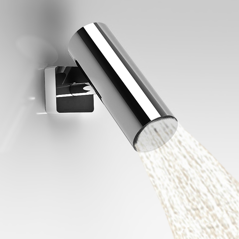 Bathroom Brass Wall Mounted Shower Head Like Camera  Fixed Top Spray Nozzle Showering Replacement Polished Chrome