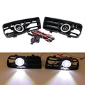 LED Fog Lights Angel Eyes Front Bumper Grille Grill Cover with Wiring Foglight Kit For VW GOLF 4 GTI TDI R32 MK4 1998-2004 #9441