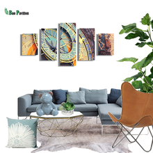 цены 5 Panel Painting Print Painting Canvas  Big Clock  Modular Pictures Large Wall Pictures For Living Room