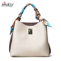 HISUELY Hot Sale New Women PU Leather Handbags Silk Scar Fashion Designer Black Bucket Vintage Shoulder