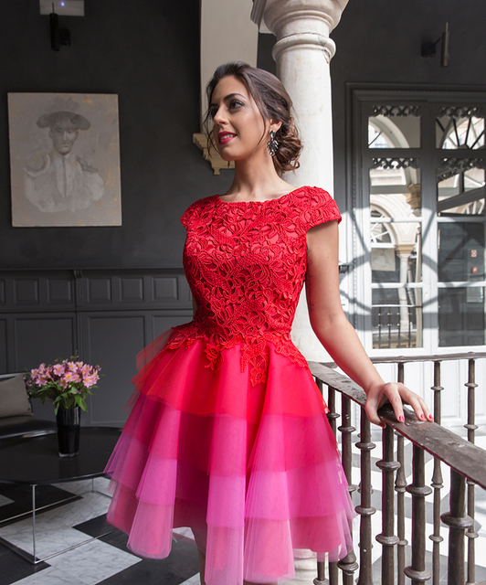 Red 2018 Elegant Cocktail Dresses A-line Cap Sleeves Short Mini Tulle Lace Party Plus Size Homecoming Dresses