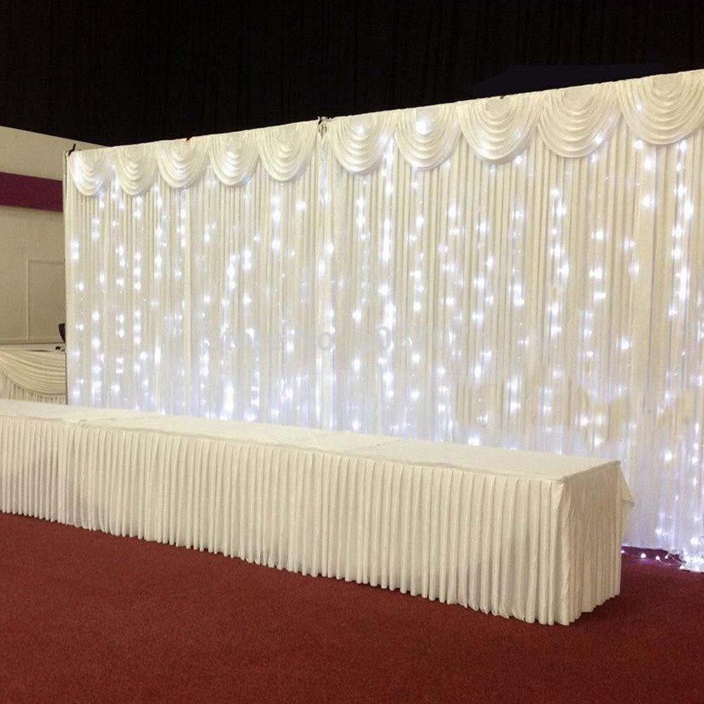 Customized Color 2pcs x 3m x 3m (10ft*20ft )/3m x 6m ice silk Wedding Drape curtain Pleated Backdrop Decoration swag Background|decorating shower curtains|curtain rod decorative|curtain room - title=
