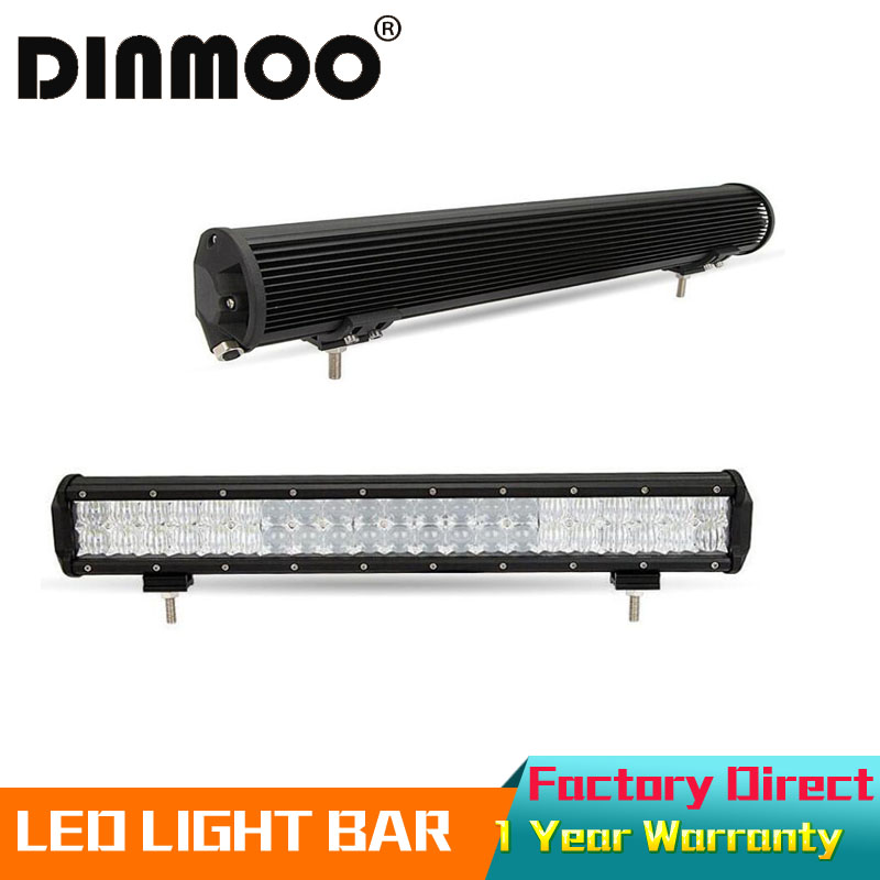 DINMOO 5D Straight 126W 20LED Work Light Bar Offroad Driving Lamp Spot Flood Combo Beam 4WD SUV+Free Harness Wire Kite