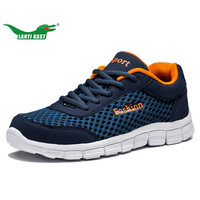 LANTI KAST Men Running Shoes Breathable Air Mesh Lace Up Athletic Sneakers Outdoor Cushioning Jogging Sport