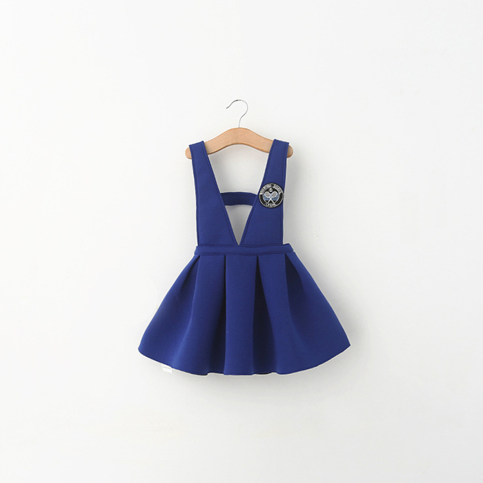 2015 girl dress school style overalls and jumper outfit puff ball Baby Girl Clothes Princess Tutu Children's Dresses
