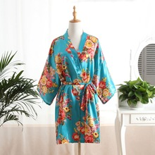 Chinese Traditional Gown Women Silk Satin Robe Lady Sleepwear Sz S-6XL